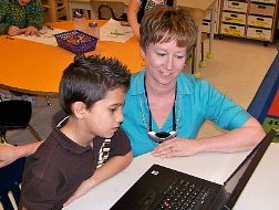 Image of Mrs. Kathy Cassidy teaching a student